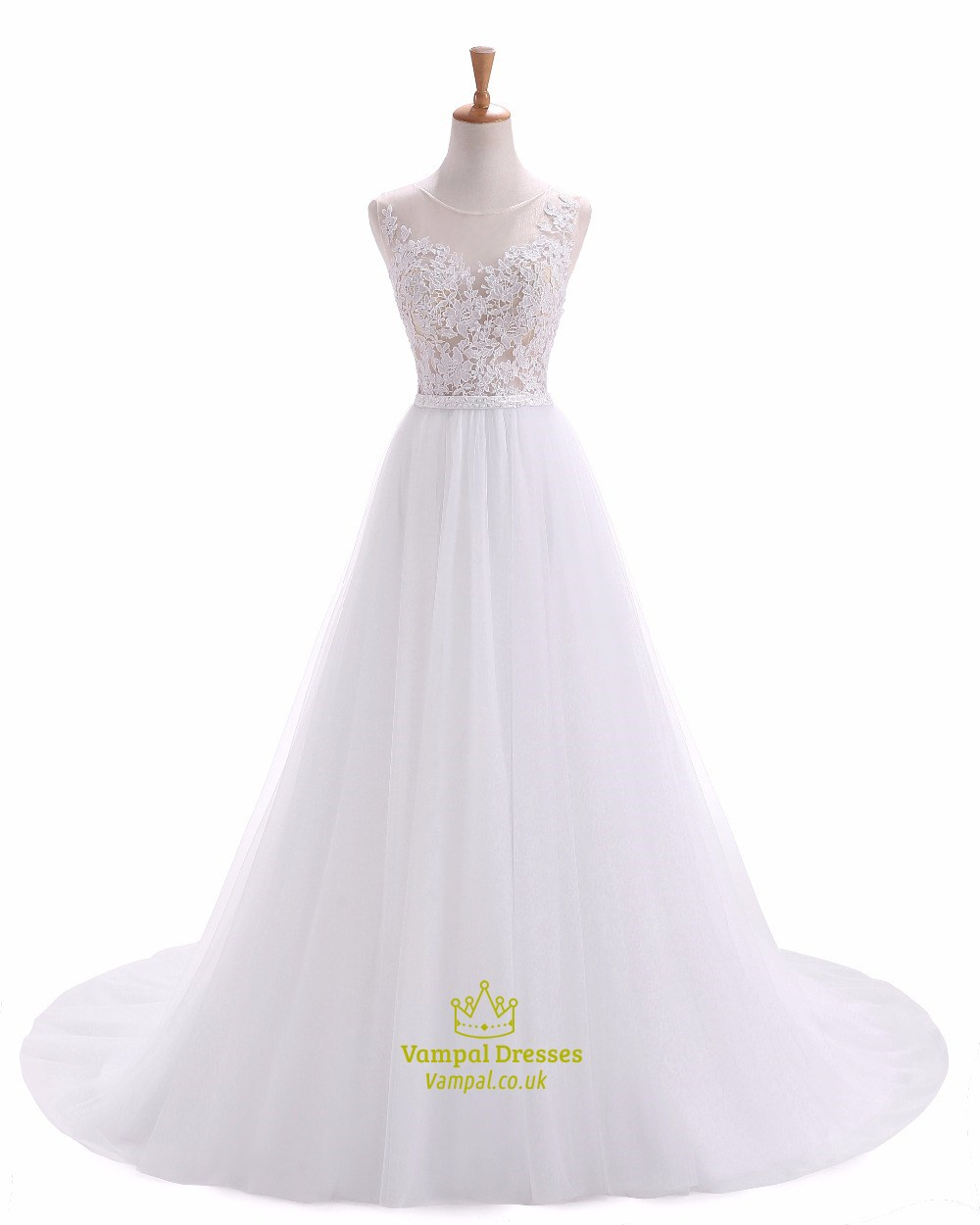 White Sleeveless Illusion Bodice Floor Length Wedding Dress With ...