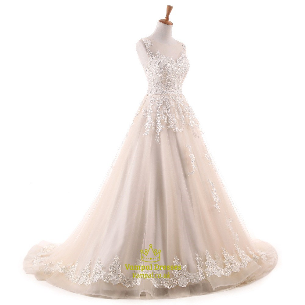 Light champagne sleeveless long wedding dress with lace for Wedding dress with lights
