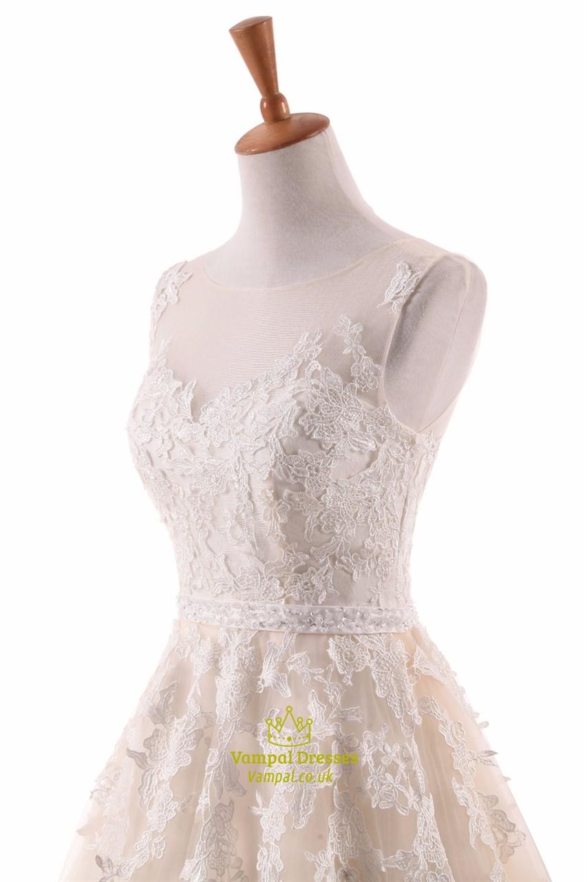 light champagne sleeveless long wedding dress with lace