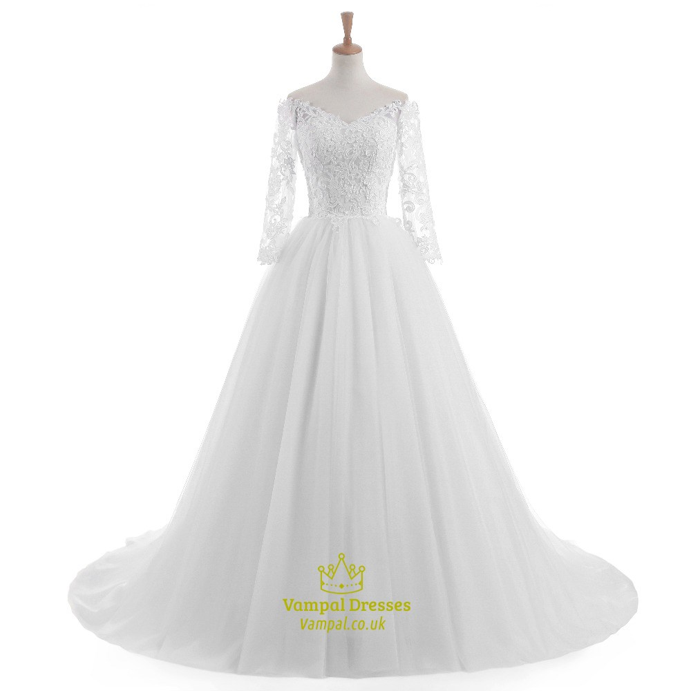 White lace long sleeve off the shoulder floor length for Medium length wedding dresses