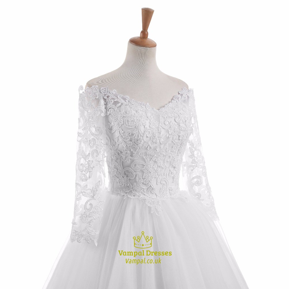 White lace long sleeve off the shoulder floor length for Long sleeve white lace wedding dress