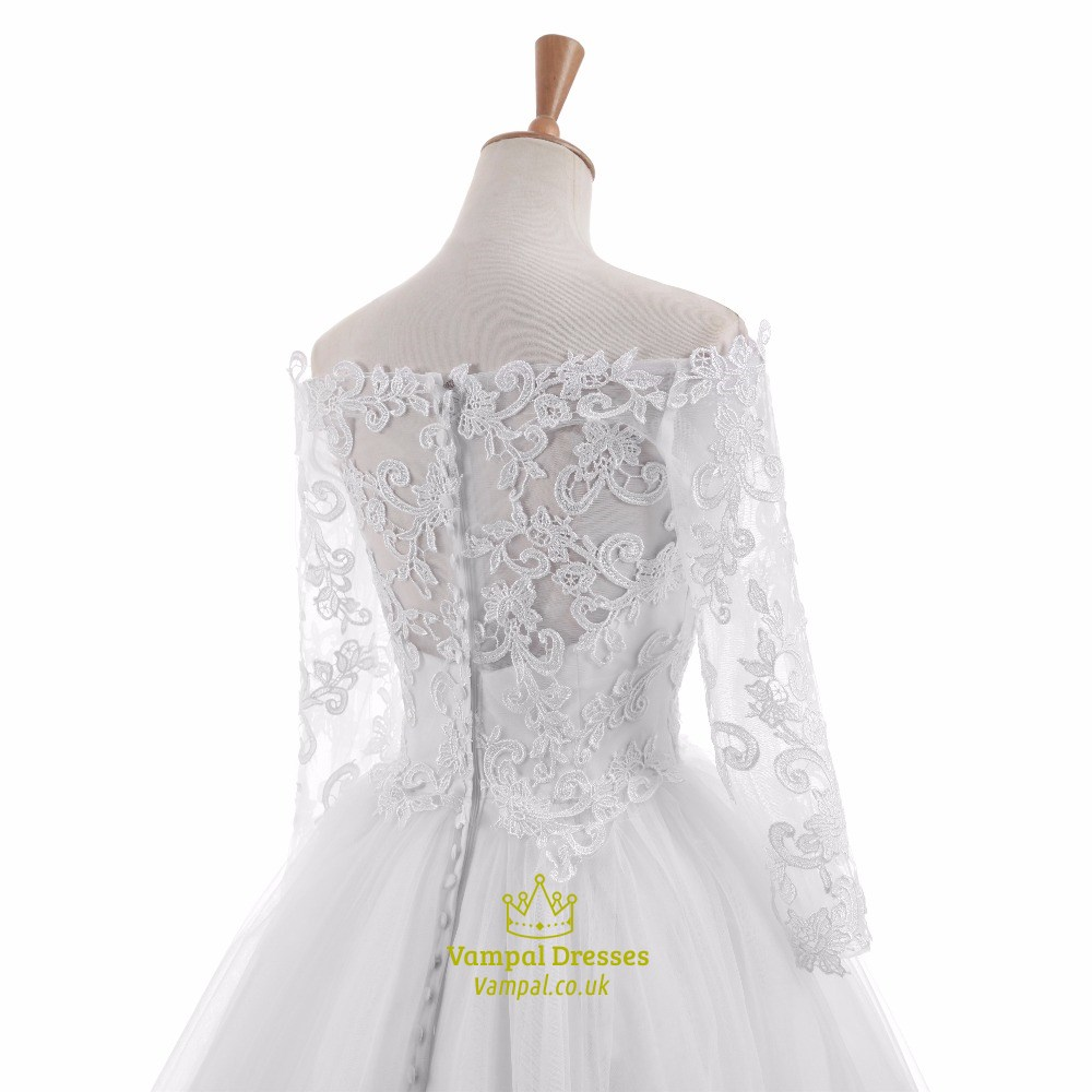 White lace long sleeve off the shoulder floor length for Wedding dresses to buy off the rack