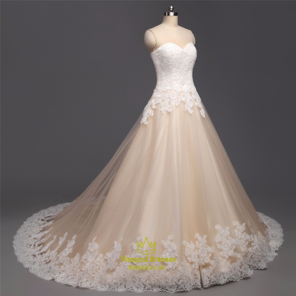 Light champagne tulle sleeveless long wedding dress with for Wedding dress champagne lace