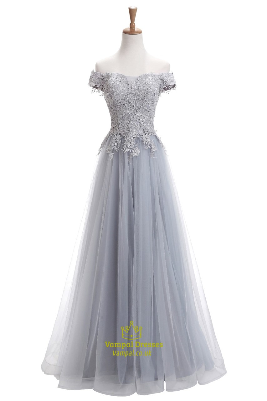 Gray lace short sleeve off the shoulder wedding dress with for Short wedding dresses uk