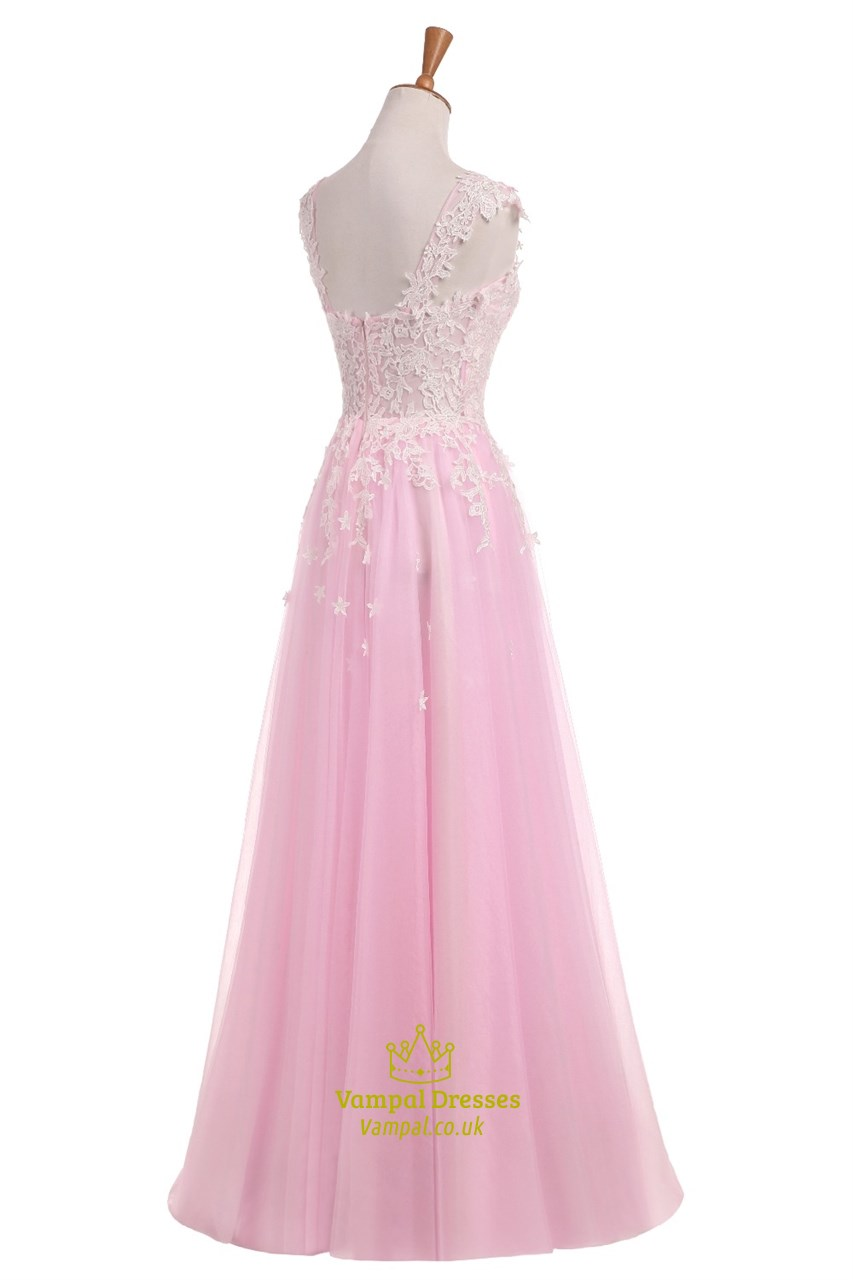 Light Pink Capped Sleeve Floor Length Wedding Dress With ...