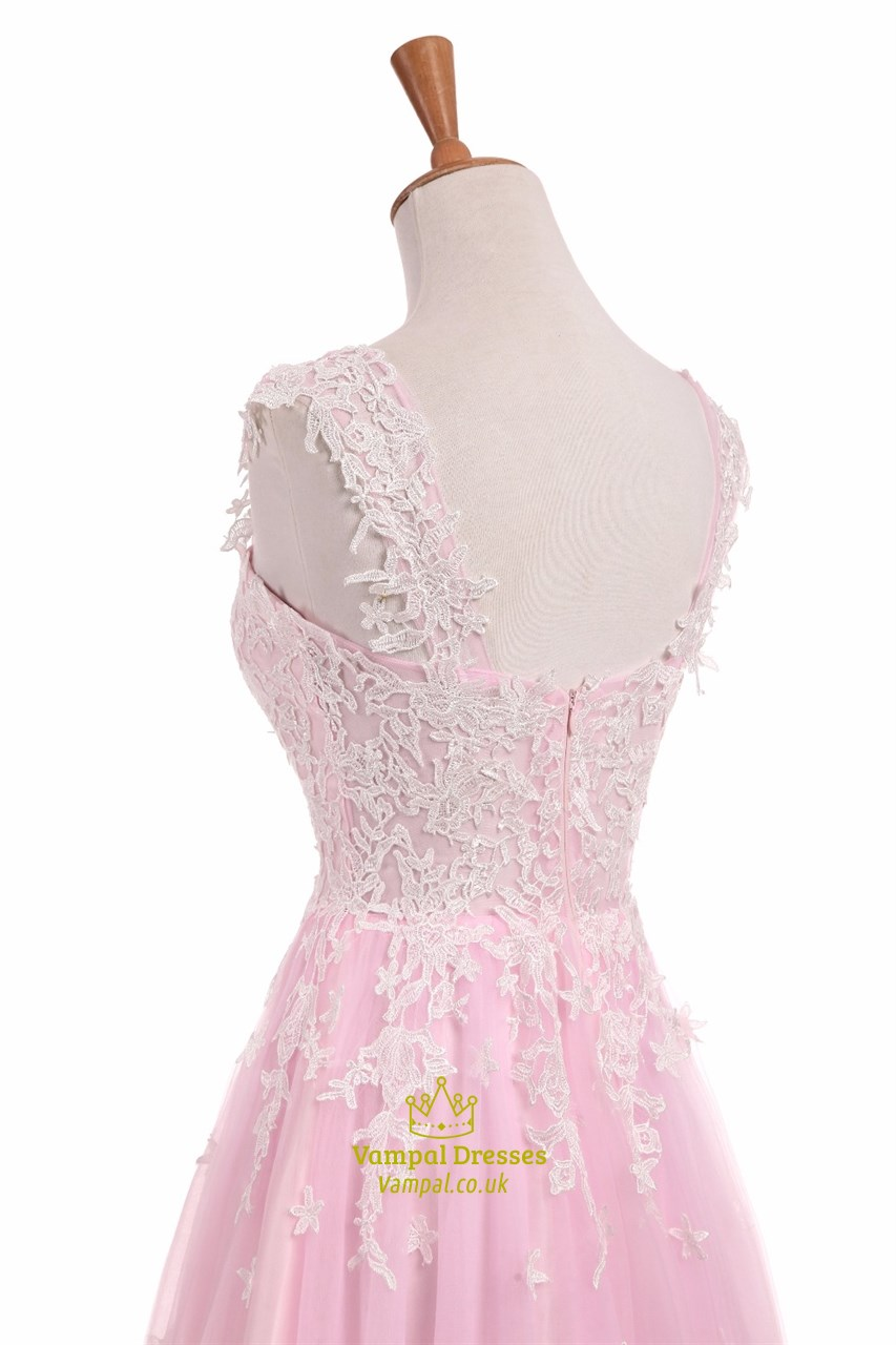 Light pink capped sleeve floor length wedding dress with for Pink lace wedding dresses