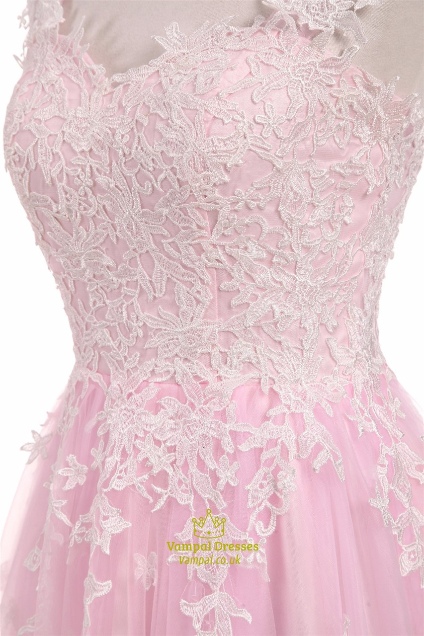 Light Pink Capped Sleeve Floor Length Wedding Dress With Lace ...