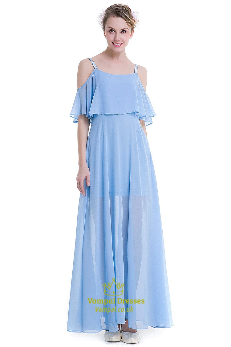 Light Blue Simple Off The Shoulder Chiffon Overlay Maxi