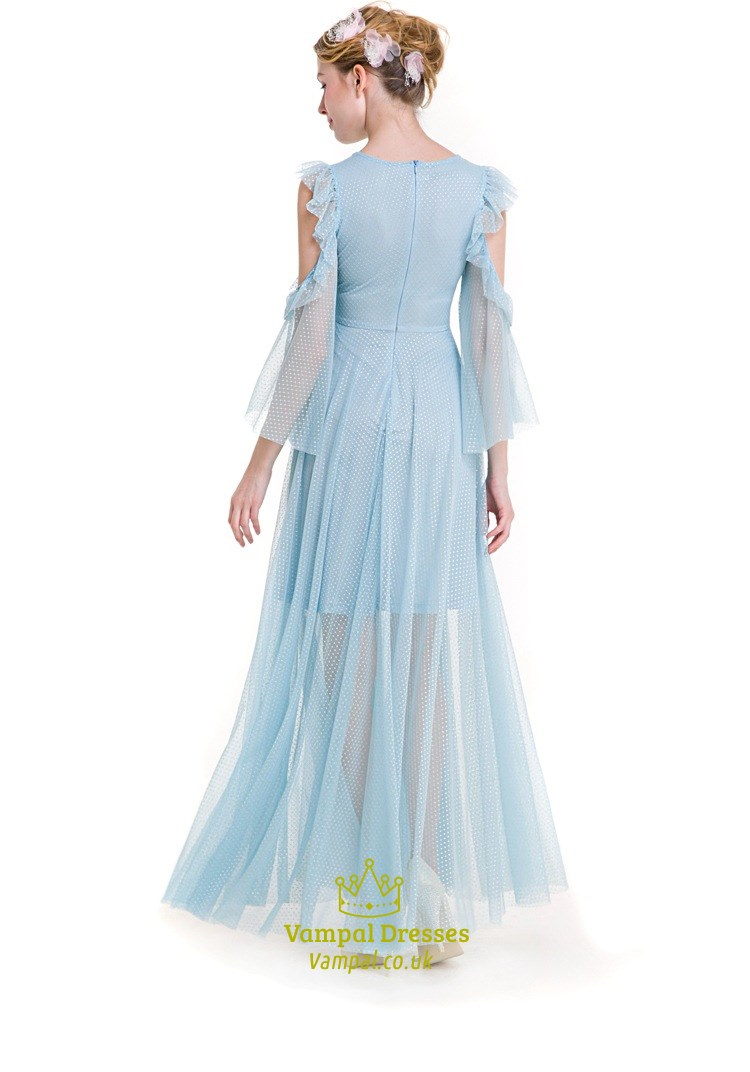 Elegant Light Blue Front Keyhole A Line Lace Maxi Dress