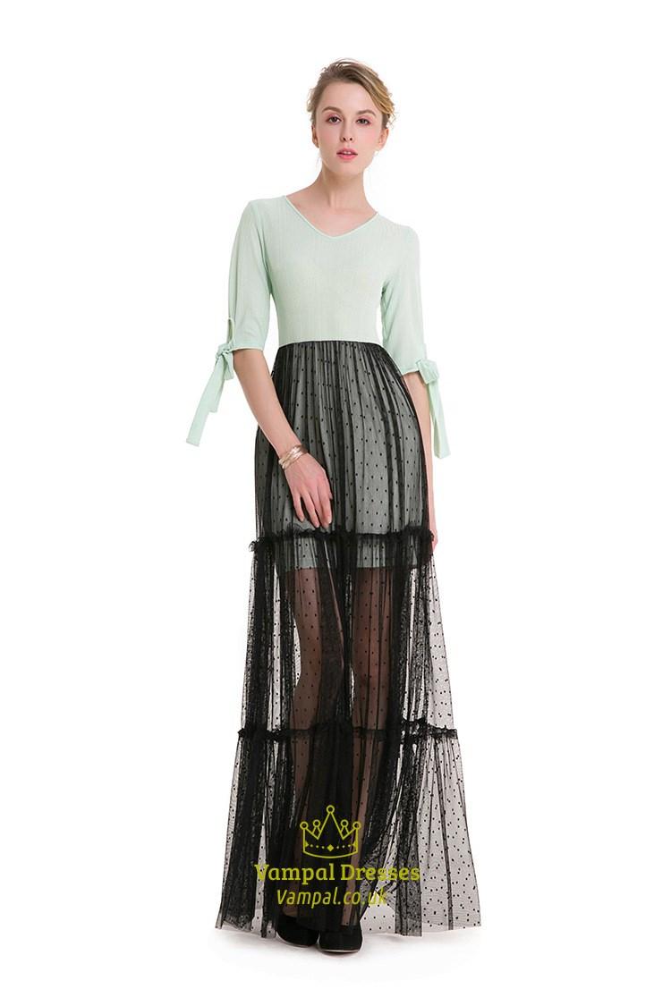 Simple Half Sleeve V Neck Short Sheath Dress With Black