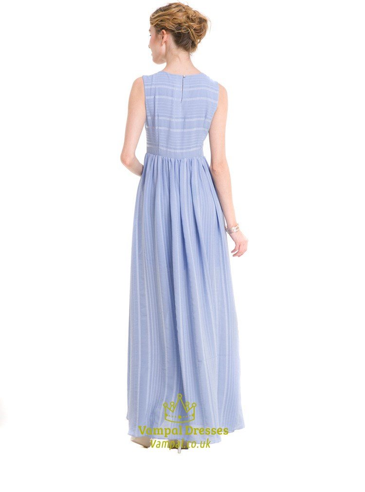 Blue Simple Sleeveless A-Line Striped Maxi Dress With Closed Back | Vampal Dresses