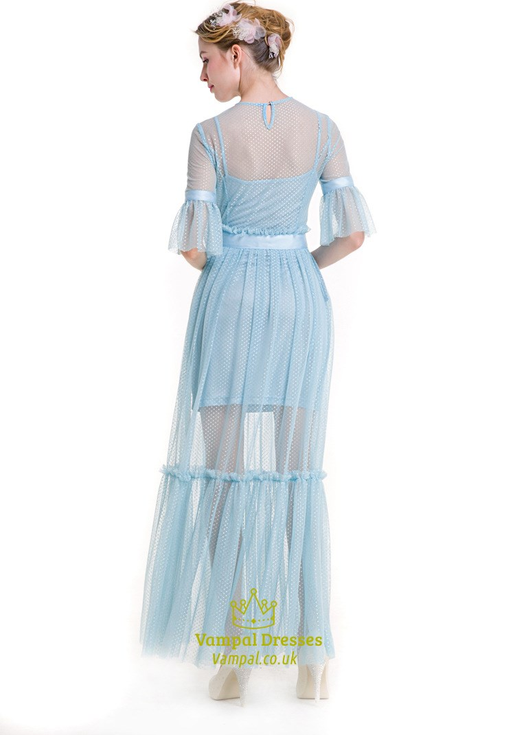 Illusion Light Blue Bell Sleeve Lace Overlay Floor Length
