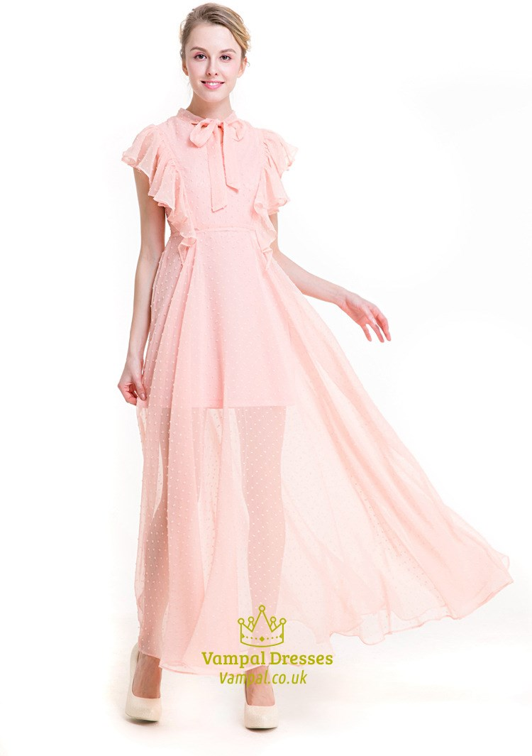 Peach chiffon maxi dress uk