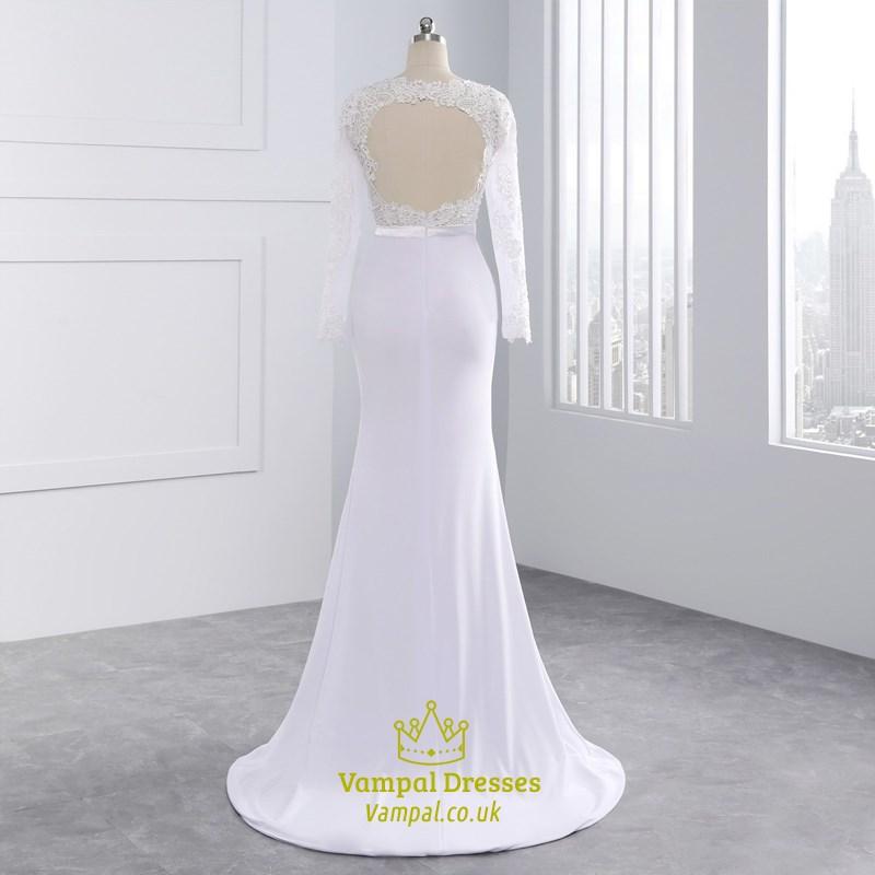 Lace Long Sleeve Illusion Lace Bodice Mermaid Style Wedding Dress Vampal Dresses,Burgundy Winter Wedding Bridesmaid Dresses