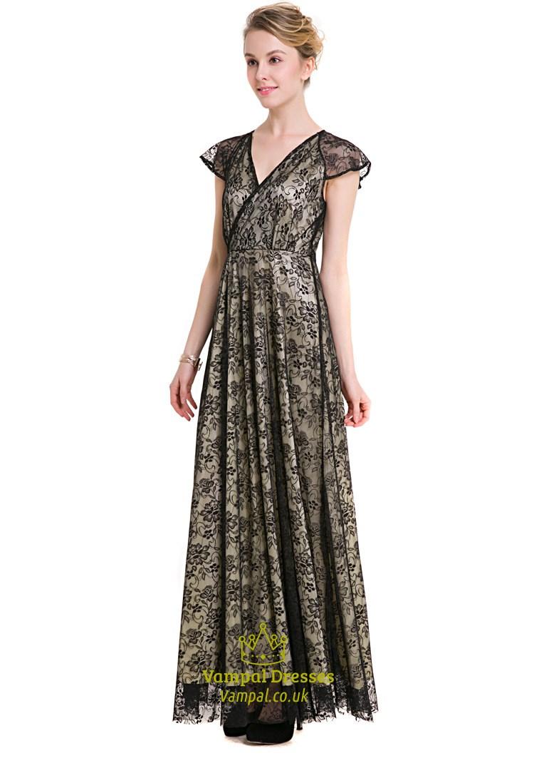 d190a6e6691 Elegant Cap Sleeve V Neck A-Line Black Lace Overlay Maxi Dress SKU -623