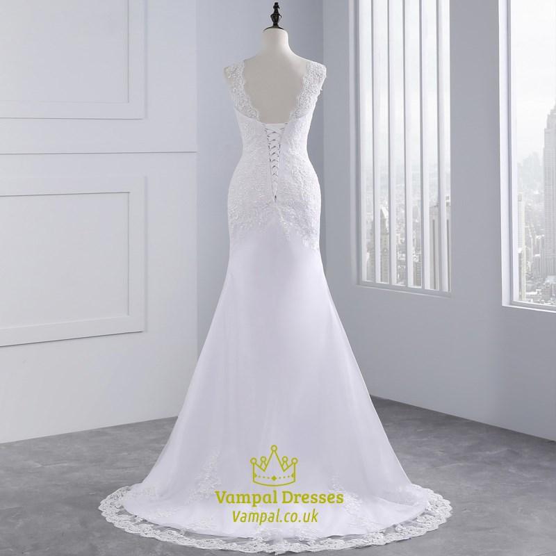Sleeveless backless mermaid style lace wedding dress with for Backless mermaid style wedding dresses