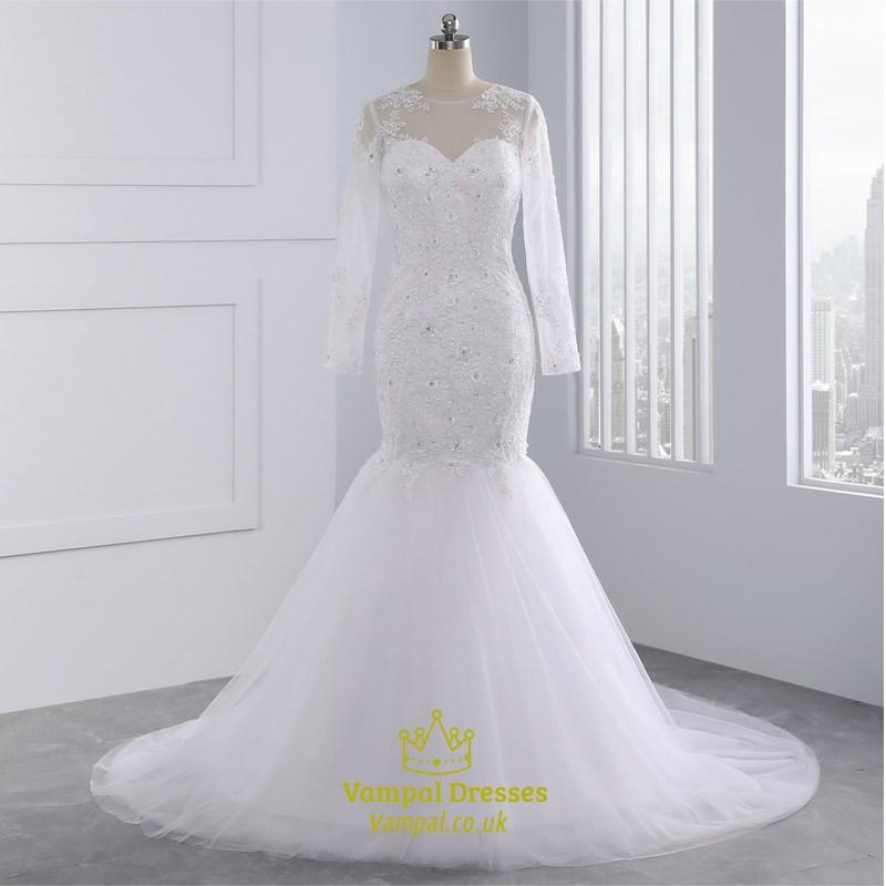 Long sleeve lace illusion neckline mermaid wedding dresses for Mermaid wedding dress with long train