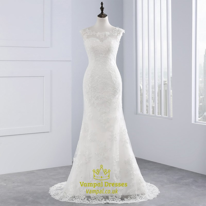 bcd3a7ccc81 Capped Sleeve Illusion Neckline Mermaid Wedding Dress With Lace Overlay SKU  -FS2052