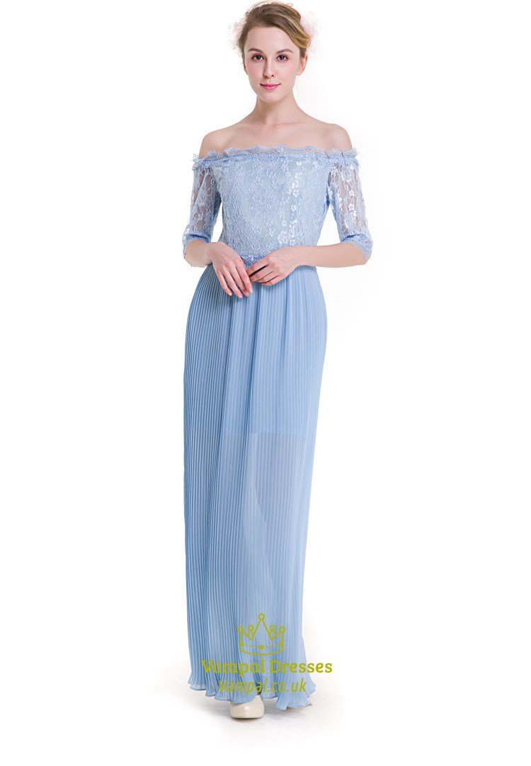 640e32f4dae0 Light Blue Off The Shoulder Half Sleeve Chiffon Maxi Dress With Lace ...