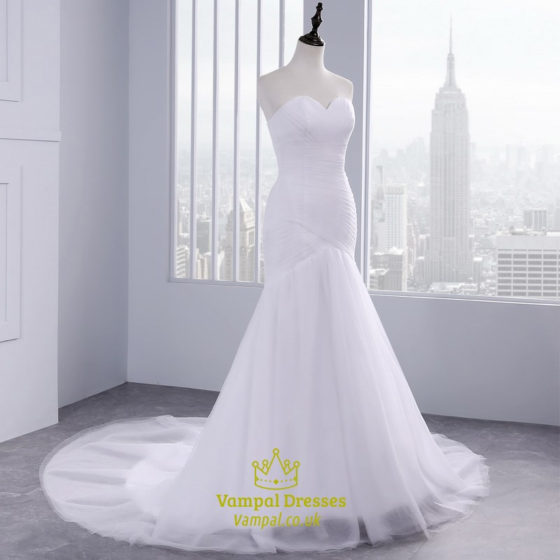 Tulle sexy strapless sheath mermaid style wedding dress with train tulle sexy strapless sheath mermaid style wedding dress with train junglespirit Images