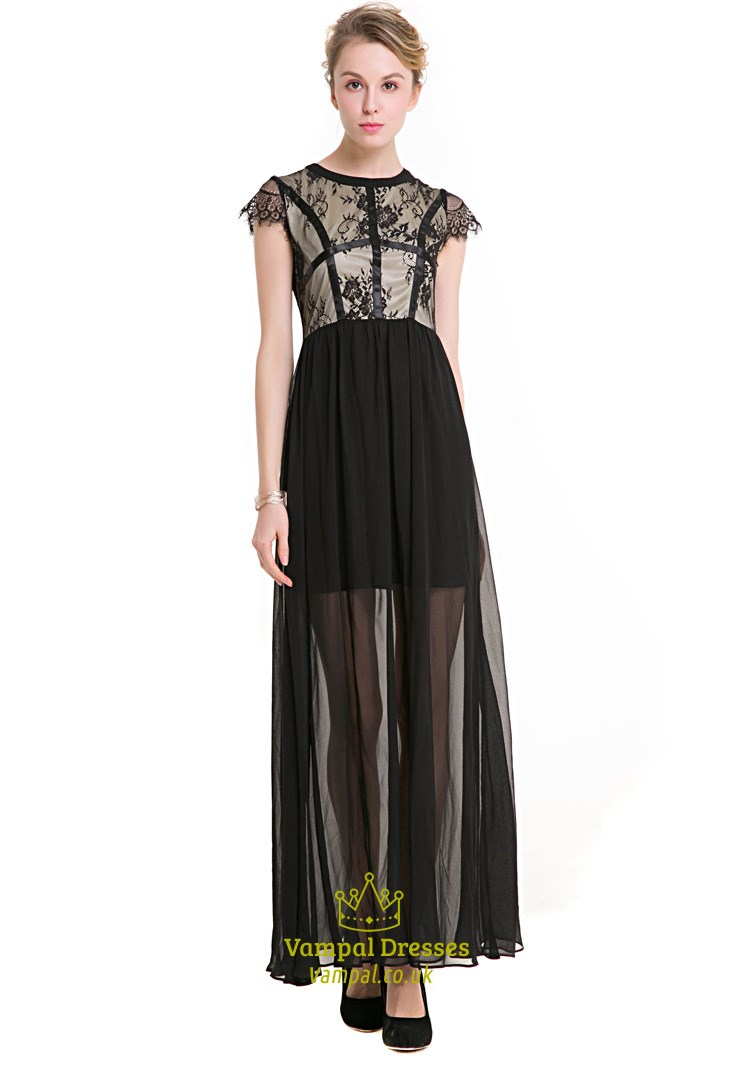 Black Cap Sleeve A Line Chiffon Maxi Dress With Lace