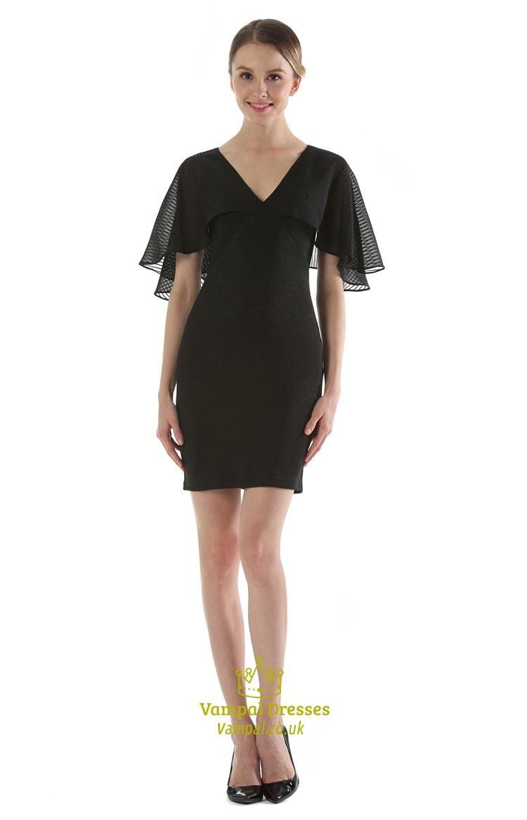 Elegant Black V Neck Knee Length Sheath Dress With