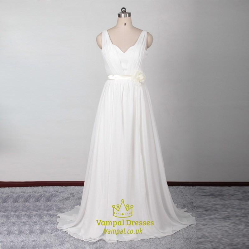 Long chiffon sleeveless backless v neck wedding dress with for Backless chiffon wedding dress