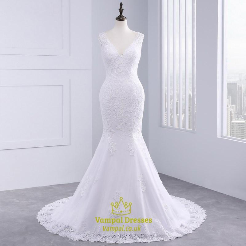 Sexy v neck sleeveless mermaid style wedding dress gowns with train sexy v neck sleeveless mermaid style wedding dress gowns with train junglespirit Image collections