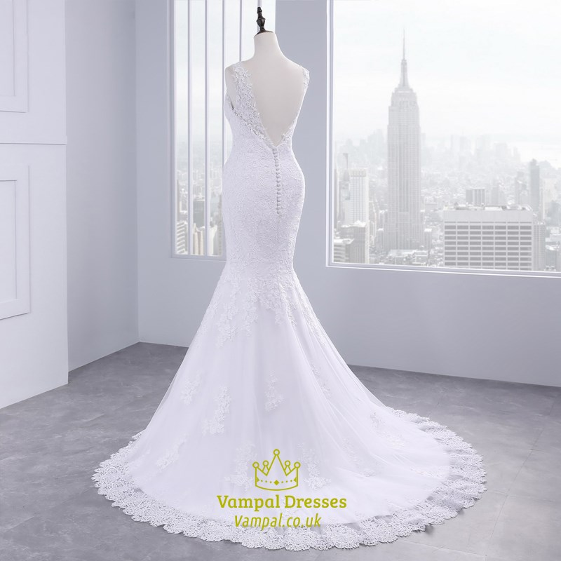 Sexy V Neck Sleeveless Mermaid Style Wedding Dress Gowns With Train