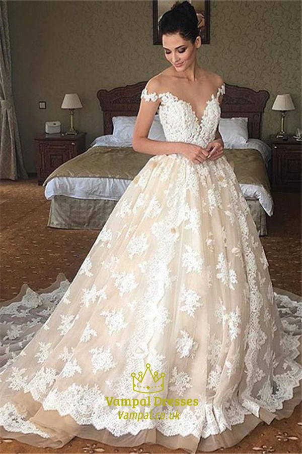 Elegant light champagne long wedding dress with lace Wedding dress alterations cost 2018 uk