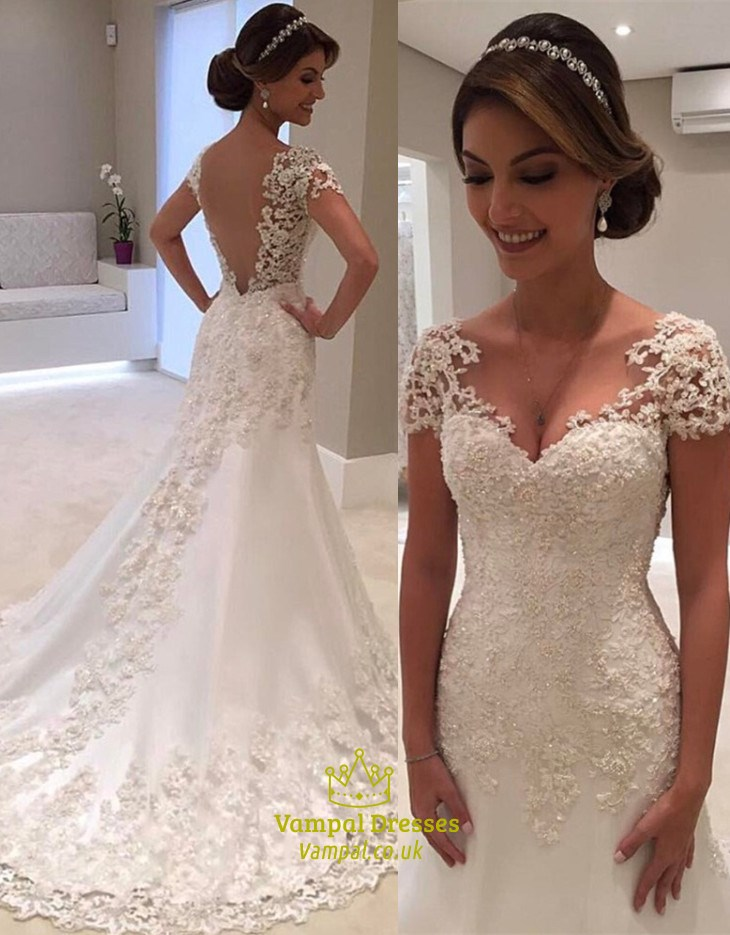 Mermaid Style Wedding Dress.Illusion Lace Overlay V Back Mermaid Style Wedding Dress With Train