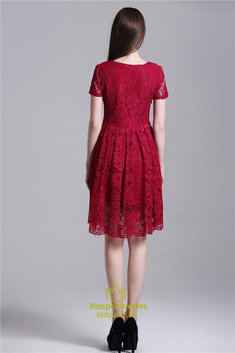 Burgundy Simple Short Sleeve A Line Knee Length Lace