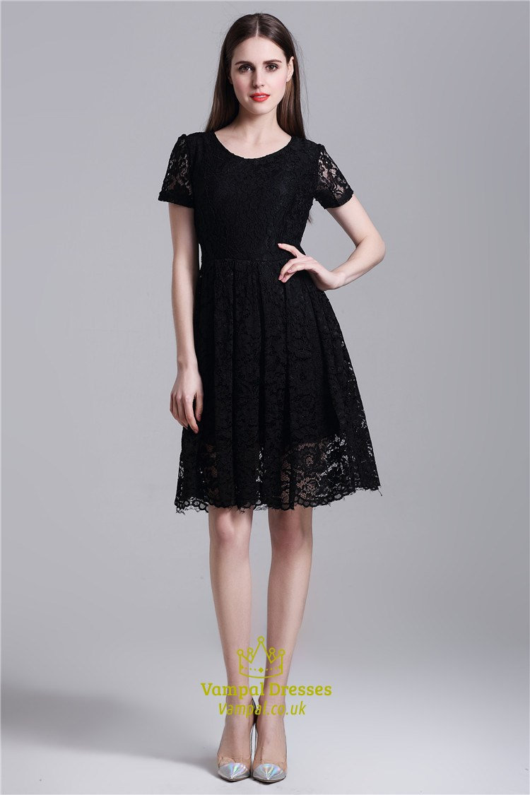 Black Simple Short Sleeve A-Line Knee