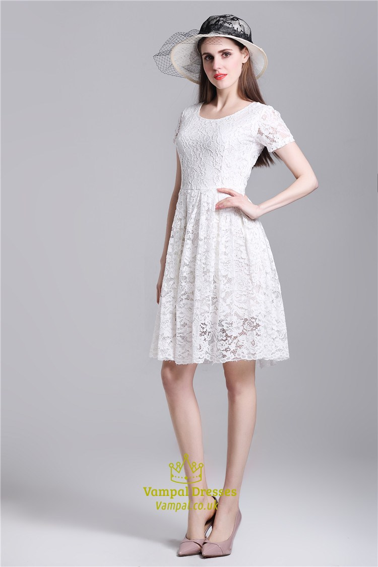 casual knee length simple white dress