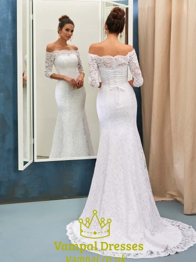 White Lace Off The Shoulder 3/4 Length Sleeve Mermaid Wedding Dress ...