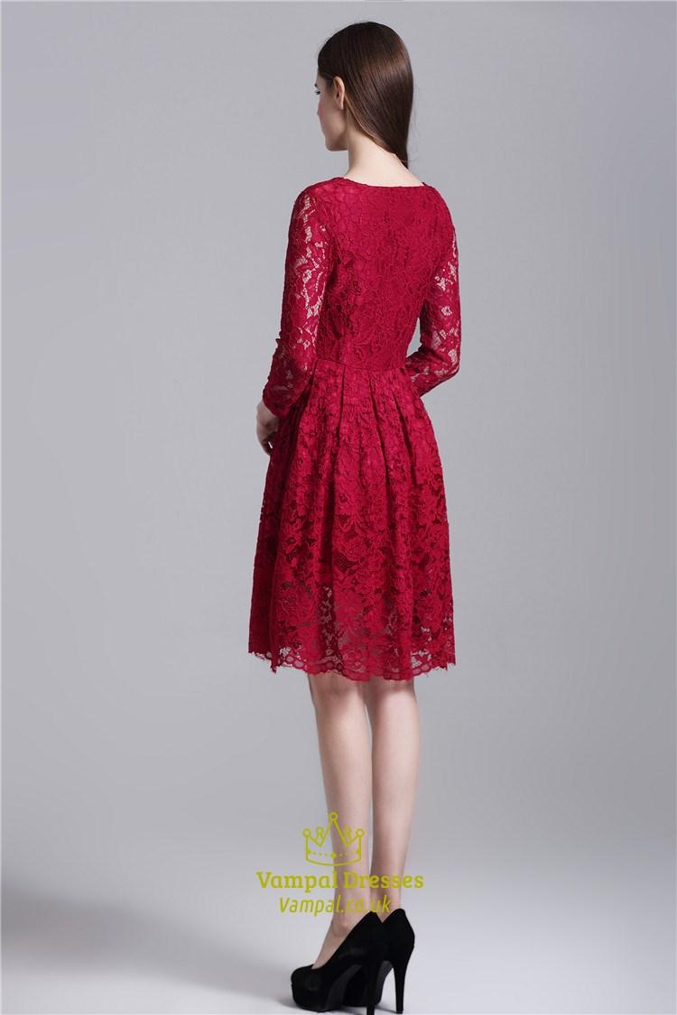 Burgundy Simple Long Sleeve Knee Length A Line Lace
