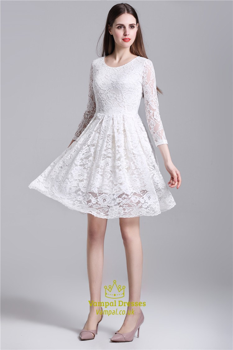 White Simple Long Sleeve Knee Length A Line Lace Overlay