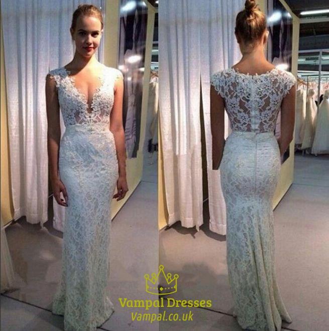 White Lace Sleeveless V Neck Floor Length Mermaid Style Wedding ...