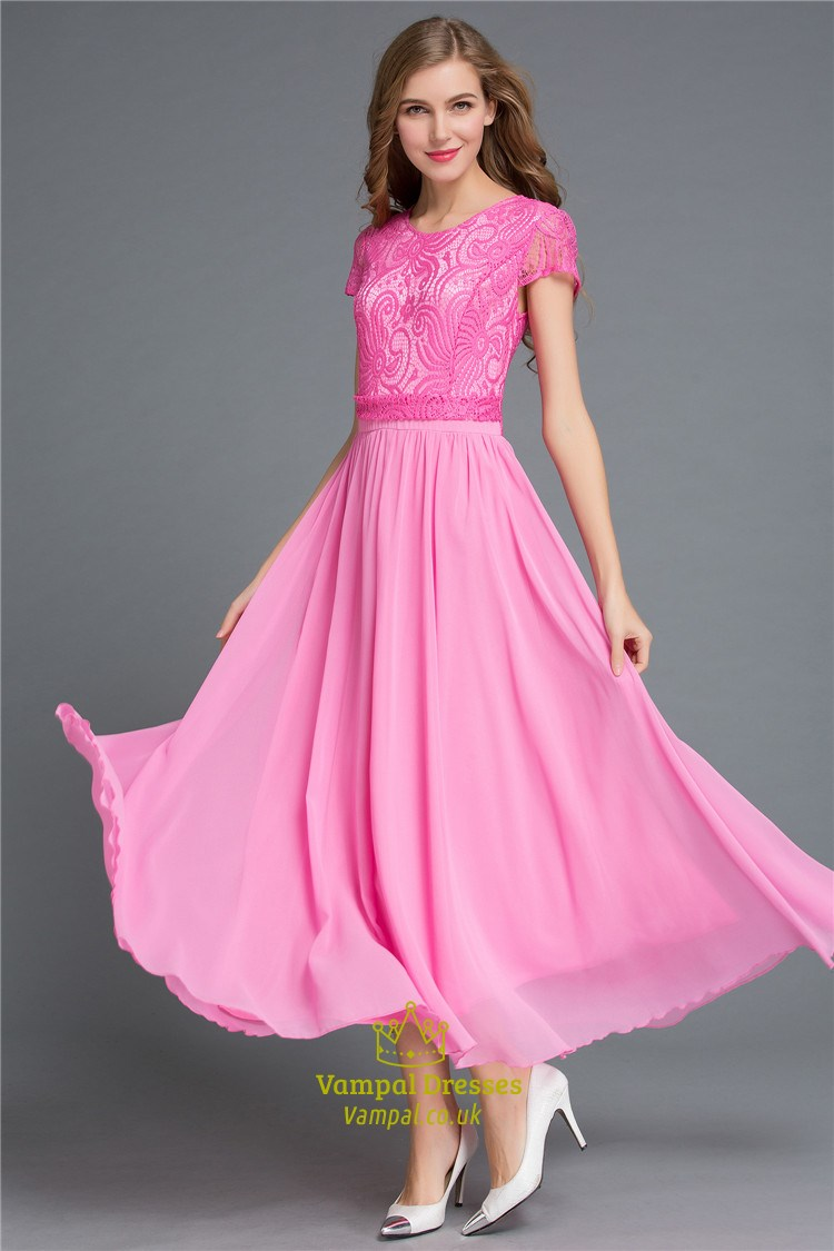 Hot Pink Simple Cap Sleeve A Line Lace Bodice Chiffon