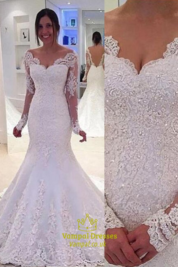 Sparkle White Lace V Neck Beaded Long Sleeve Mermaid Wedding Dress ...