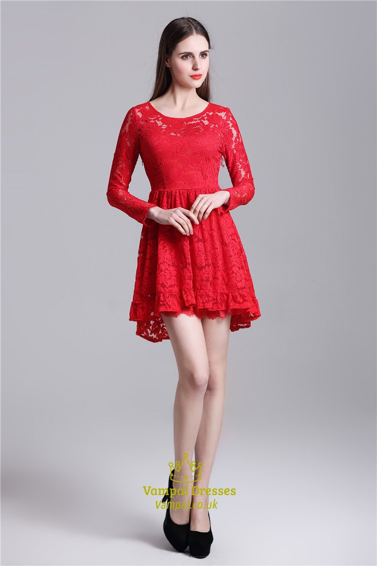 Red Cute Illusion Long Sleeve Short A Line Lace Homecoming