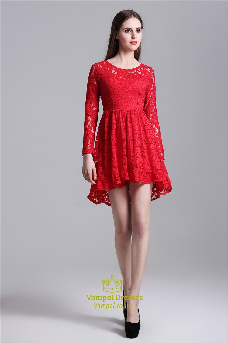 Red Cute Illusion Long Sleeve Short A-Line Lace Homecoming Dress | Vampal Dresses