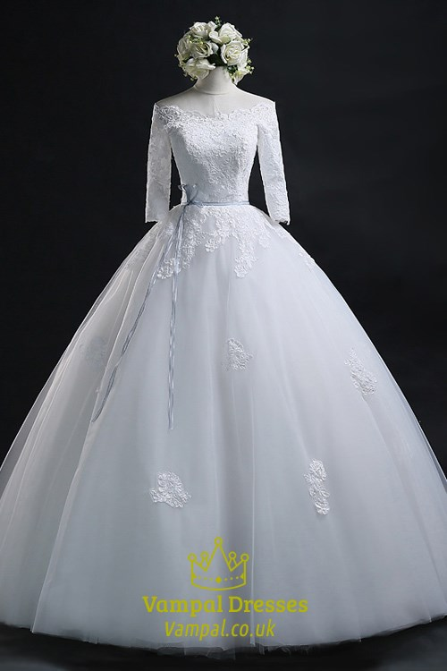 White Lace Bodice Half Length Sleeve Wedding Gown With Lace Applique ...