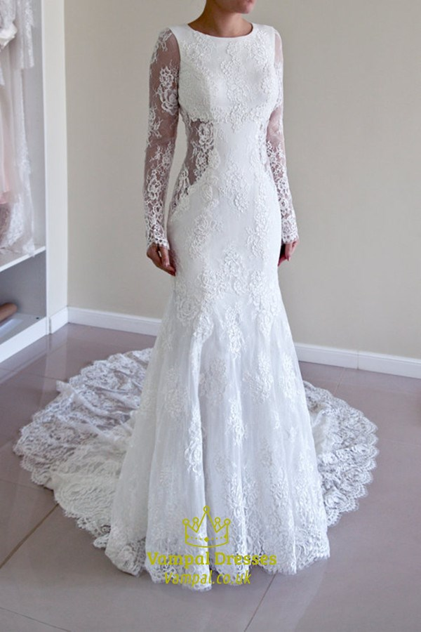 White Lace Long Sleeve Backless Mermaid Style Wedding