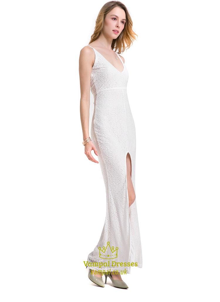 White Sleeveless V Neck Front Slit Lace Maxi Dress With
