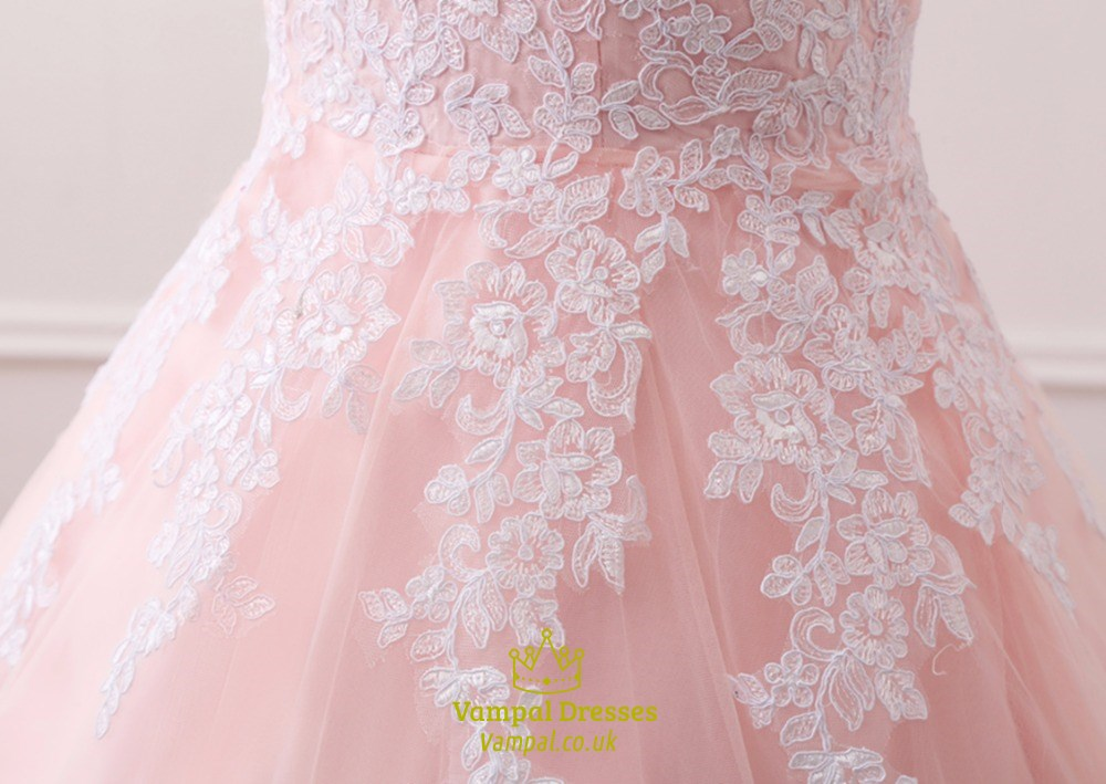 Pearl pink sleeveless ball gown wedding dress with lace appliques