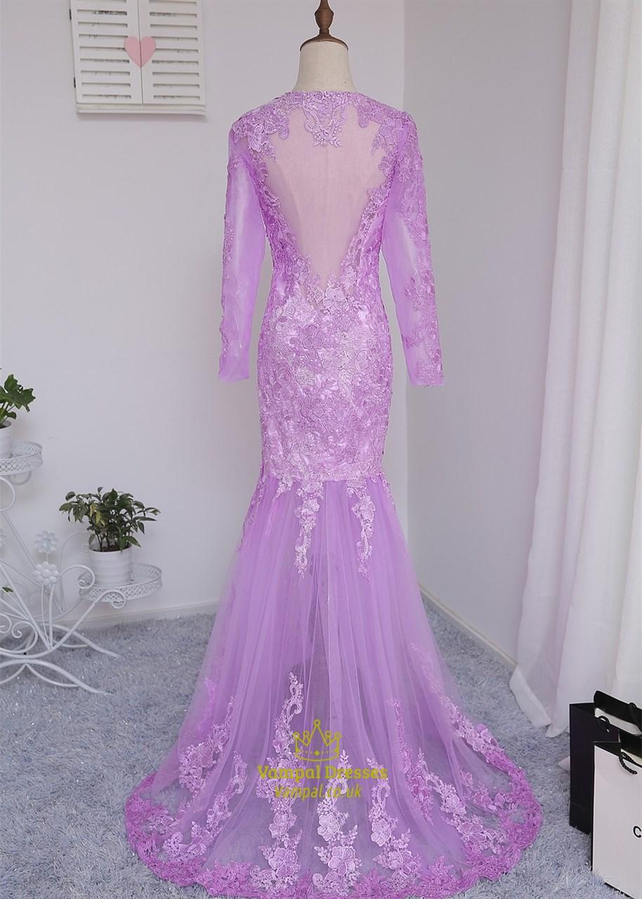 Violet Long Sleeve Lace Bodice Illusion Mermaid Bridesmaid