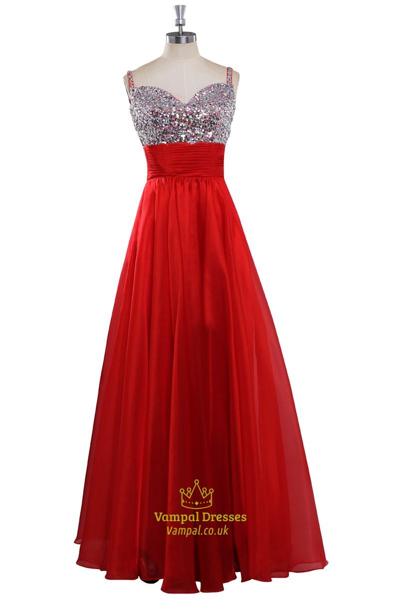Red Satin Beaded Neckline Sleeveless Floor Length Prom