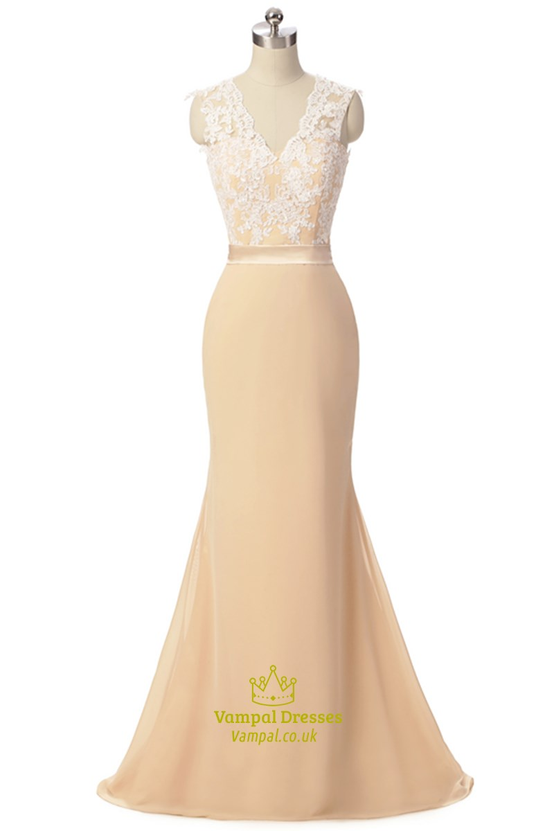 Champagne Coloured Chiffon Lace Bodice Cap Sleeve Mermaid Prom
