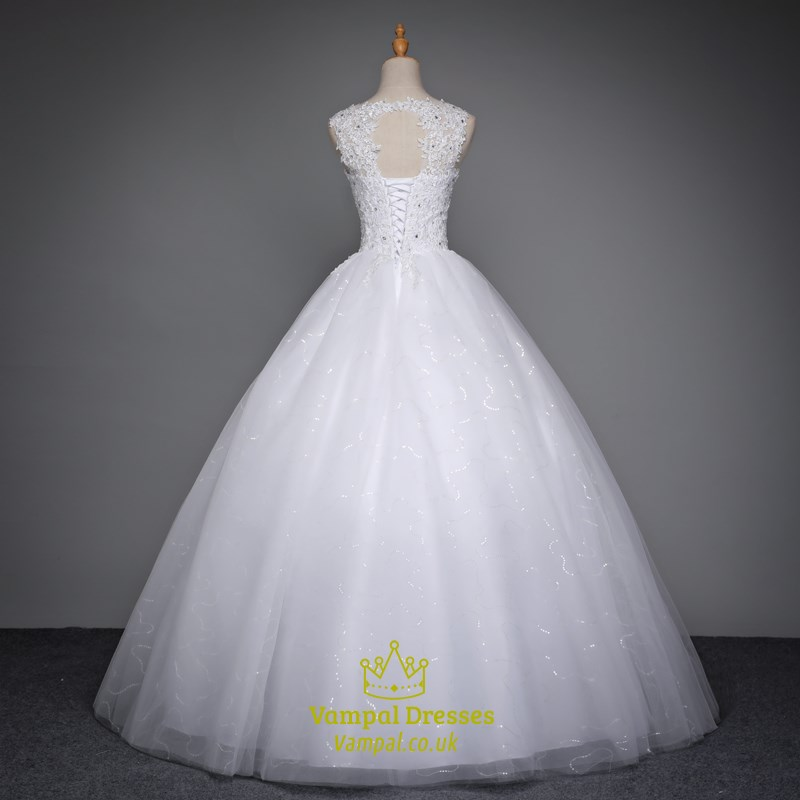White Sleeveless Beaded Floor Length Ball Gown Wedding Dresses
